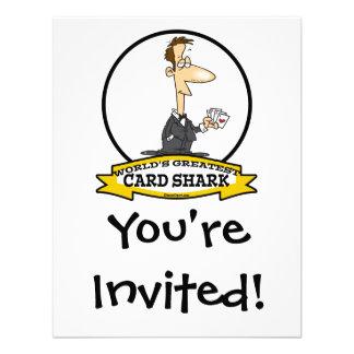 WORLDS GREATEST CARD SHARK MEN CARTOON CUSTOM ANNOUNCEMENTS