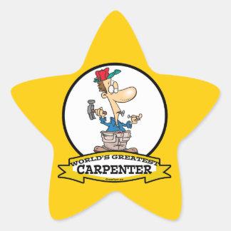 WORLDS GREATEST CARPENTER MEN CARTOON STAR STICKER