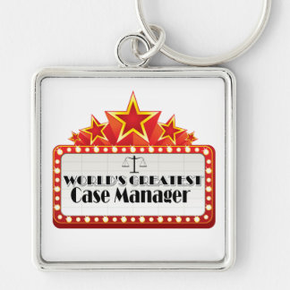 World's Greatest Case Manager Silver-Colored Square Keychain