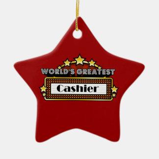 World's Greatest Cashier Ceramic Ornament