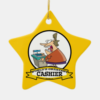 WORLDS GREATEST CASHIER WOMEN CARTOON Double-Sided STAR CERAMIC CHRISTMAS ORNAMENT