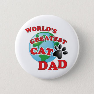 Worlds Greatest Cat Dad with Black Paw Print Button
