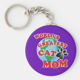 World's Greatest Cat Mom Paw Print Keychain