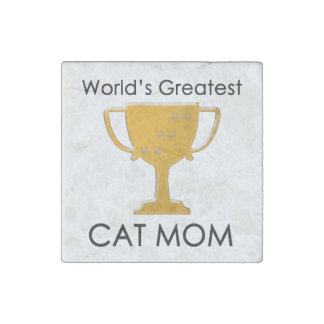 World's Greatest Cat Mom Stone Magnet