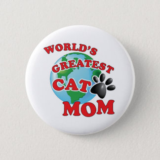 Worlds Greatest Cat Mom with Black Paw Print Pinback Button