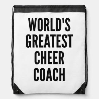 Worlds Greatest Cheer Coach Drawstring Bag