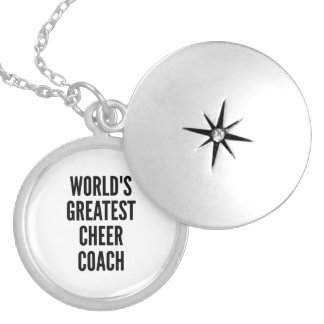 Worlds Greatest Cheer Coach Silver Plated Necklace