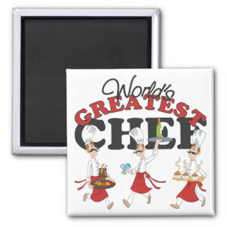 Worlds Greatest Chef Gift 2 Inch Square Magnet