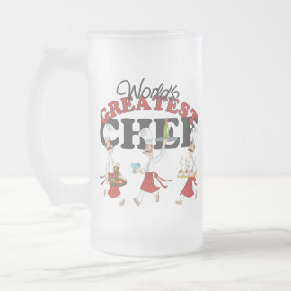 Worlds Greatest Chef Gift Frosted Glass Beer Mug