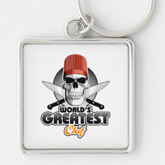 World's Greatest Chef v1 Silver-Colored Square Keychain