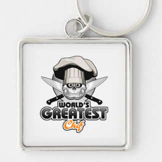 World's Greatest Chef v2 Silver-Colored Square Keychain