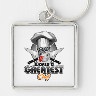 World's Greatest Chef v3 Silver-Colored Square Keychain