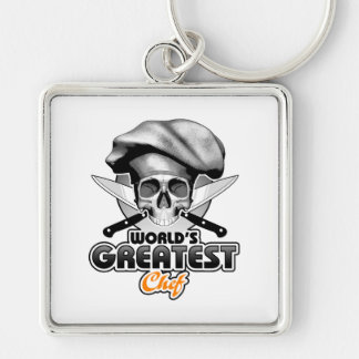 World's Greatest Chef v6 Silver-Colored Square Keychain