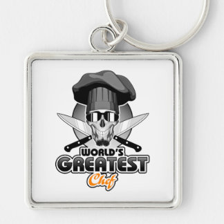 World's Greatest Chef v7 Silver-Colored Square Keychain