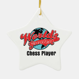 Worlds Greatest Chess Player Double-Sided Star Ceramic Christmas Ornament