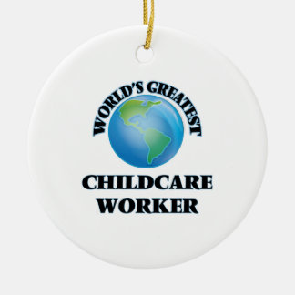 World's Greatest Childcare Worker Double-Sided Ceramic Round Christmas Ornament