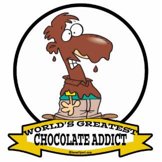 WORLDS GREATEST CHOCOLATE ADDICT CARTOON STANDING PHOTO SCULPTURE