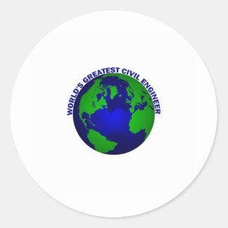 World's Greatest Civil Engineer Classic Round Sticker