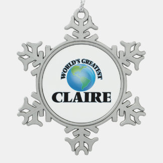World's Greatest Claire Snowflake Pewter Christmas Ornament