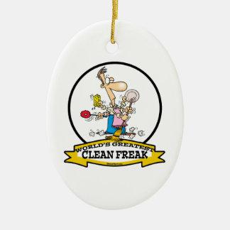 WORLDS GREATEST CLEAN FREAK MEN CARTOON CERAMIC ORNAMENT