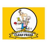 WORLDS GREATEST CLEAN FREAK MEN CARTOON POSTCARD