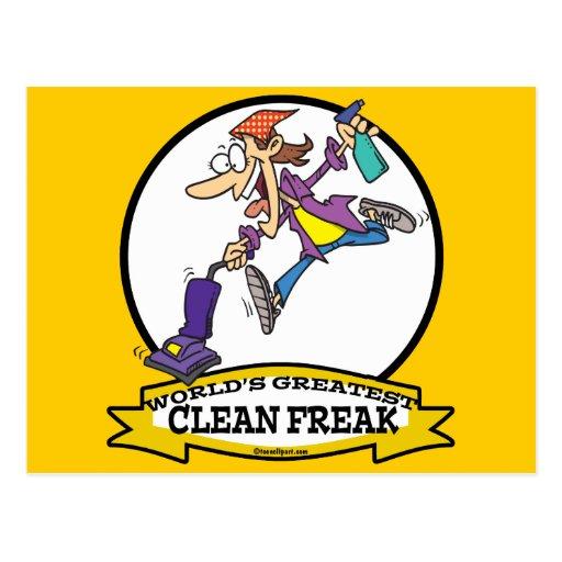 WORLDS GREATEST CLEAN FREAK WOMEN CARTOON POST CARD