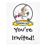 WORLDS GREATEST CLEANING LADY CARTOON PERSONALIZED INVITATION
