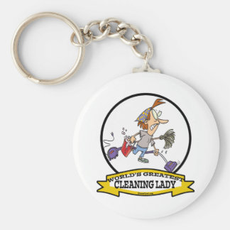 WORLDS GREATEST CLEANING LADY CARTOON KEYCHAIN