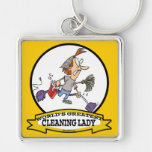 WORLDS GREATEST CLEANING LADY CARTOON KEYCHAINS