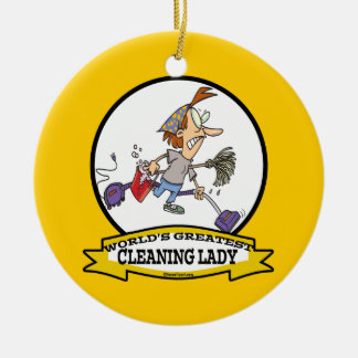 WORLDS GREATEST CLEANING LADY CARTOON CHRISTMAS TREE ORNAMENTS
