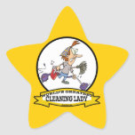 WORLDS GREATEST CLEANING LADY CARTOON STAR STICKERS