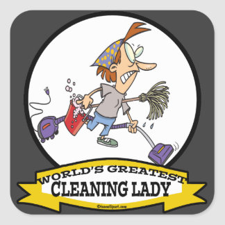 WORLDS GREATEST CLEANING LADY CARTOON STICKERS