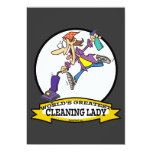 WORLDS GREATEST CLEANING LADY II WOMEN CARTOON INVITATIONS