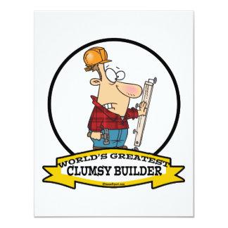 WORLDS GREATEST CLUMSY BUILDER MEN CARTOON CUSTOM ANNOUNCEMENTS