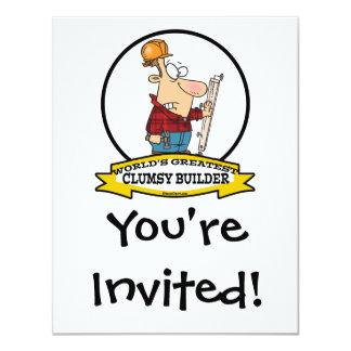 WORLDS GREATEST CLUMSY BUILDER MEN CARTOON INVITE
