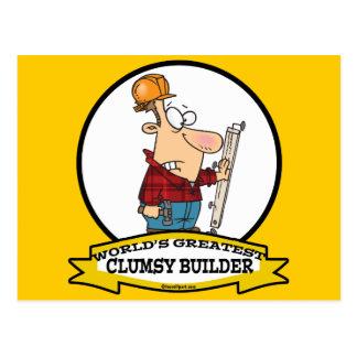 WORLDS GREATEST CLUMSY BUILDER MEN CARTOON POSTCARD