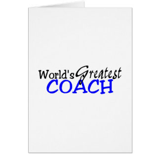 Worlds Greatest Coach Blue Black Greeting Cards