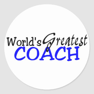 Worlds Greatest Coach Blue Black Classic Round Sticker
