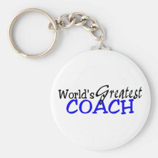 Worlds Greatest Coach Blue Black Keychain