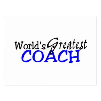 Worlds Greatest Coach Blue Black Postcard