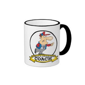 WORLDS GREATEST COACH MEN CARTOON RINGER COFFEE MUG