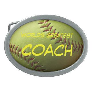 Worlds Greatest Coach Yellow Softball Belt Buckle