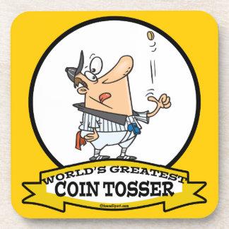 WORLDS GREATEST COIN TOSSER CARTOON DRINK COASTER