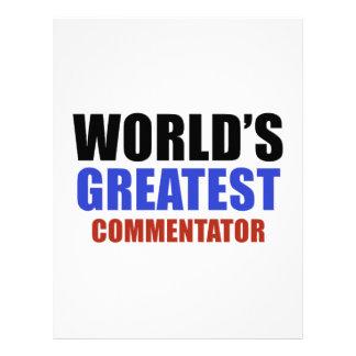 World's greatest COMMENTATOR Letterhead