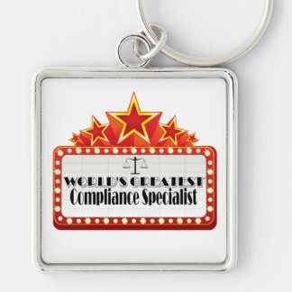 World's Greatest Compliance Specialist Silver-Colored Square Keychain