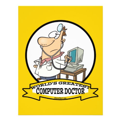 WORLDS GREATEST COMPUTER DOCTOR MEN CARTOON flyer