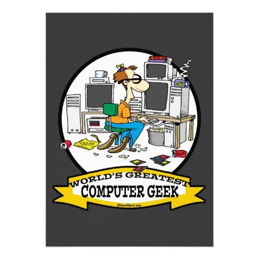 WORLDS GREATEST COMPUTER GEEK MEN CARTOON PERSONALIZED INVITATION