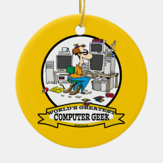 WORLDS GREATEST COMPUTER GEEK MEN CARTOON CHRISTMAS ORNAMENTS
