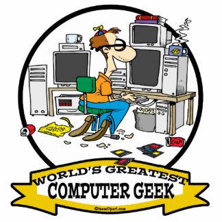 WORLDS GREATEST COMPUTER GEEK MEN CARTOON STANDING PHOTO SCULPTURE