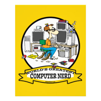 WORLDS GREATEST COMPUTER NERD MEN CARTOON FLYER